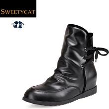Nuevo 2015 moda botas otoño y del invierno mujeres botines Lace Up boots aumento de la altura martin botas botas de cuña botas de nieve plataforma L50(China (Mainland))