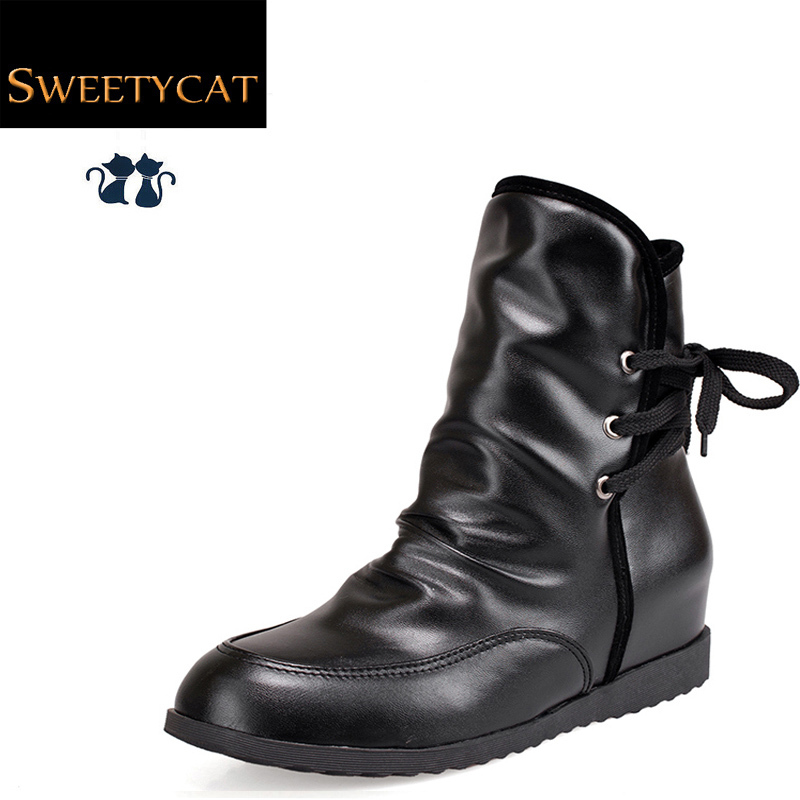 New 2015 Fashion botas autumn & winter women ankle boots Lace-Up Height Increasing martin boots Wedge platform snow boots L50(China (Mainland))
