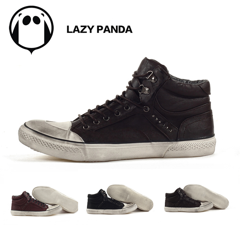 2013Free Shipping Great Discount Lazy Panda High top Sneakers for men casual shoes Fashion hip hopskateboard shoes punk nice PU(China (Mainland))