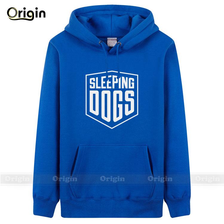 Performance fleece pullover printed Sleeping Dogs man's brand solid colored winter sport sweatshirts kangaroo pocket hoodies top(China (Mainland))