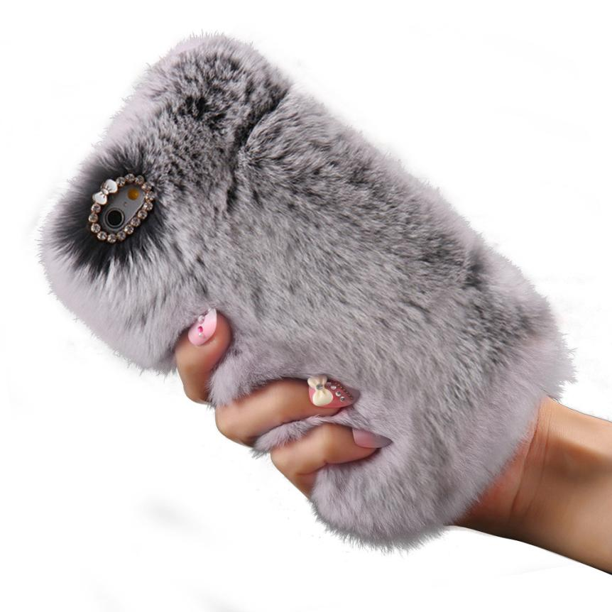 2016 New Warm Fluffy Villi Fur Plush Wool Bling Cover Skin Case For iPhone 6/ 6S 4.7inch mar28(China (Mainland))