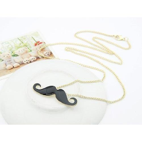 Big Promotion Retro Handlebar Mustache Necklace Hipster Beard Vintage Statement Pendant - Black(China (Mainland))