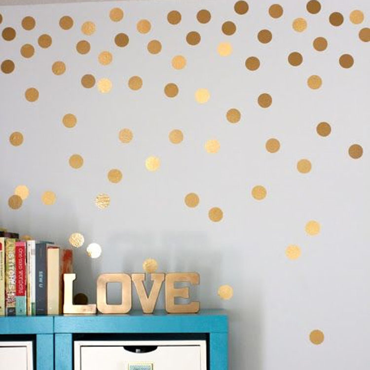 Gold Polka Dots Wall Sticker Baby Nursery Stickers Kids Golden Children Wall Decals Home Decor DIY