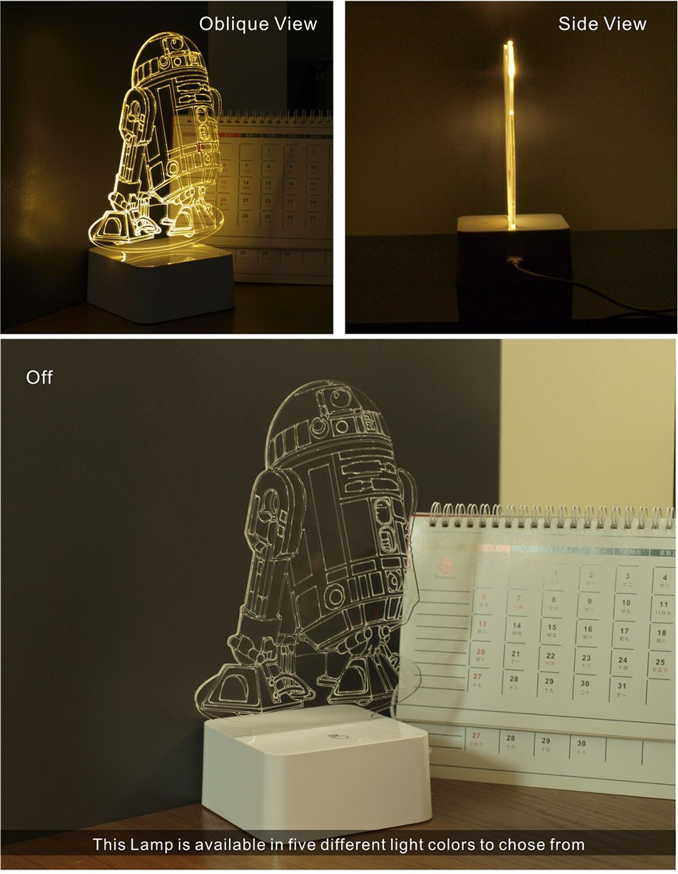 Star wars millennium falcon star wars r2 droid 3d led 3d for Lampe decoration murale 3d marteau thor