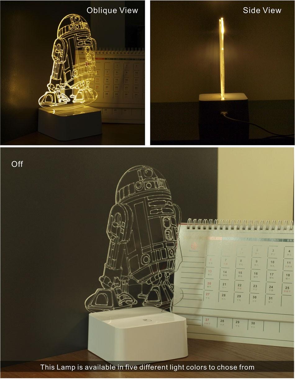Star wars millennium falcon star wars r2 droid 3d led 3d for Lampe decoration murale 3d marteau thor
