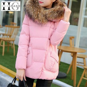 Jaqueta Feminina Winter Jacket Coat Women Candy Color Single Breasted Fur Collar Slim Long Parka Casaco Feminino WWY208