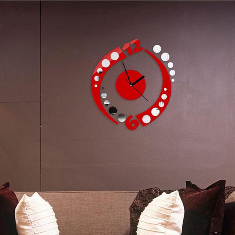 Sala de quartzo agulha europa espelho acrílico DIY 3D espelho relógio de parede adesivo relógio relógios