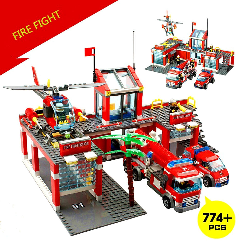 Lego City Toys : New kazi pcs set city fire station truck