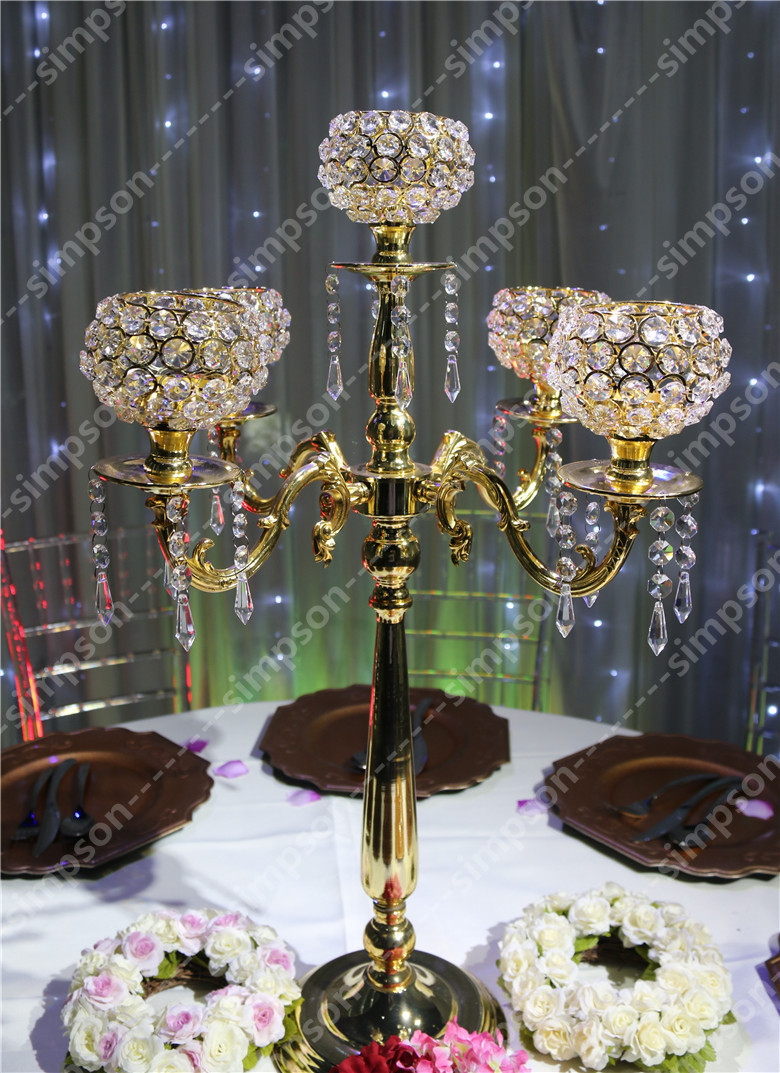 Pcs lot crystal wedding centerpiece candle holder