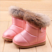 COZULMA Kış Peluş Bebek Kız Kar Botları sıcak ayakkabı Pu Deri Düz Bebek bebek ayakkabısı Açık Kar Botları Kız Çocuk Ayakkabı(China)