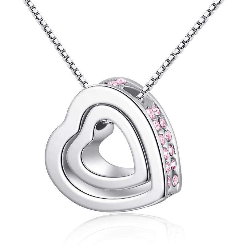 2017 statements Hot Austrian Crystals Heart in heart fashion crystal pendant necklace crystal from Swarovski jewelry for women(China (Mainland))