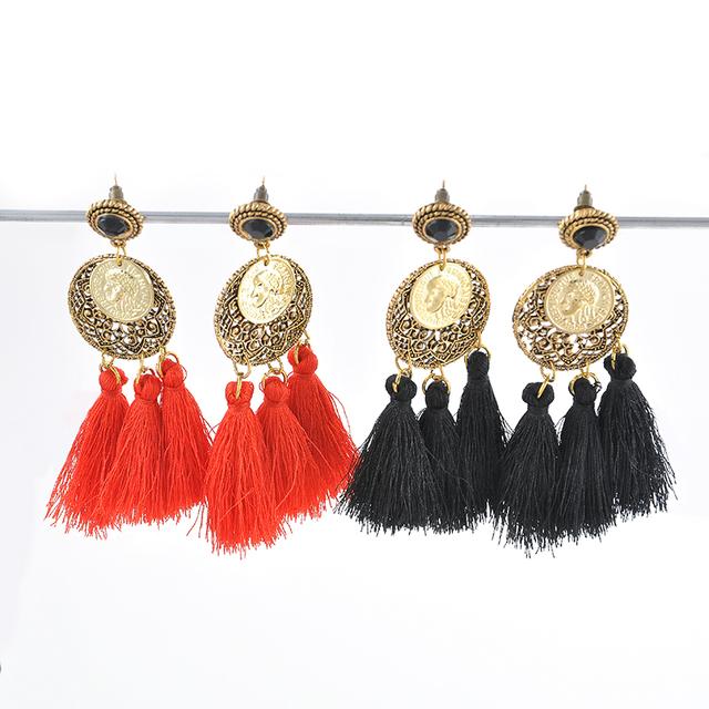 Чешские глава монета круглый Penddant нью-лонг красный черный кисточкой мотаться античная мода ювелирных элегантных женщин бесплатная доставка