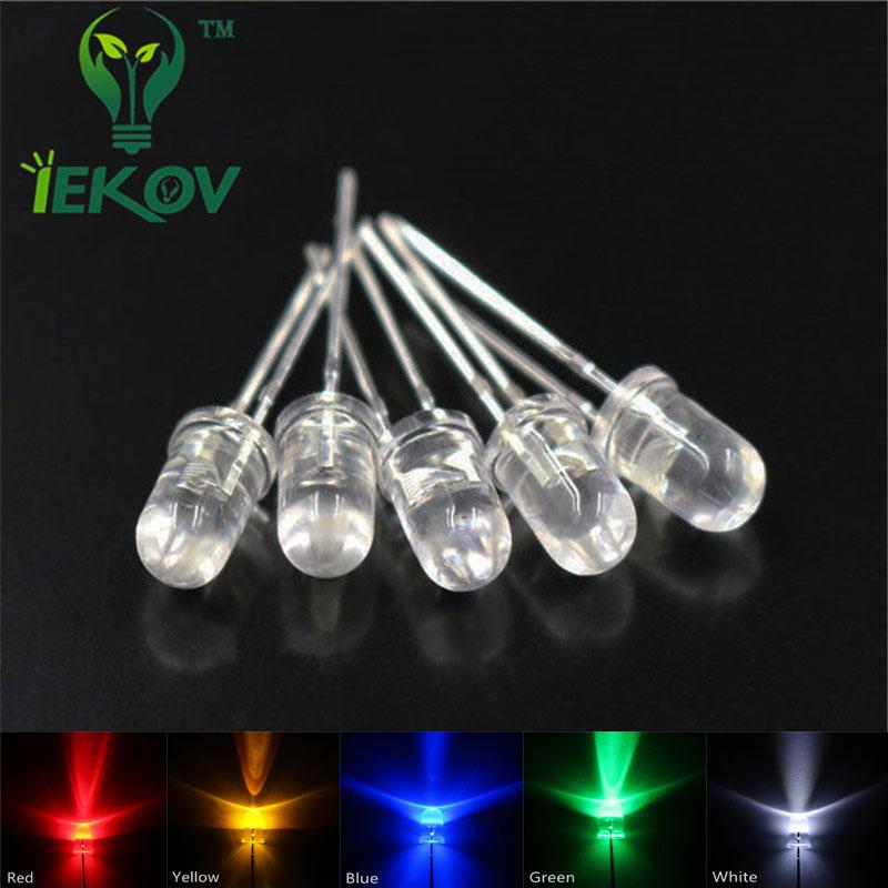 IEKOV LED 5mm 100PCS = 5 mix Color Red Blue Green Yellow White Emitting Diodes Urtal Bright LEDS lamp 100 pcs 5MM led kit(China (Mainland))
