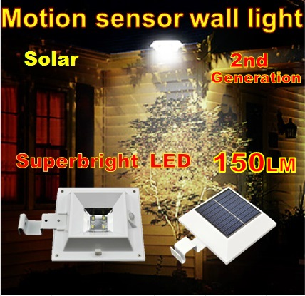 Outdoor Solar Powered Panel Motion Sensor super bright solar LED pathway Street light Garden decoration lamp Wall Fence Light(China (Mainland))