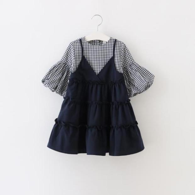 Скидки на Дети девушки одеваются Корейский платье Плед ложные две Платье Принцессы рукав сплайсинг 16 осень пункт