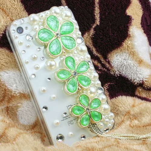 Three-color diamond tassel flowers For iPhone 4s phone case(China (Mainland))