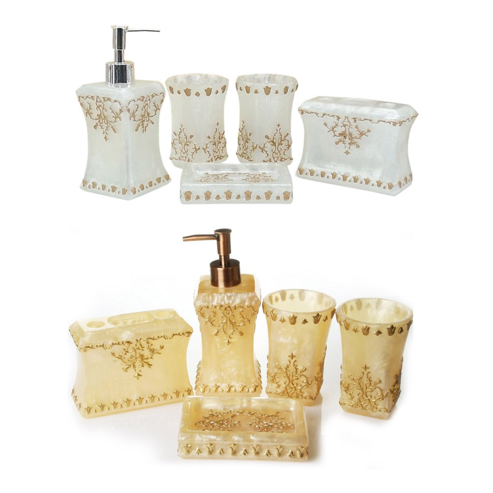 New pearl floral 5pcs resin bathroom accessories set toothbrush cup tumbler soap dish soap - Bathroom soap dish sets ...