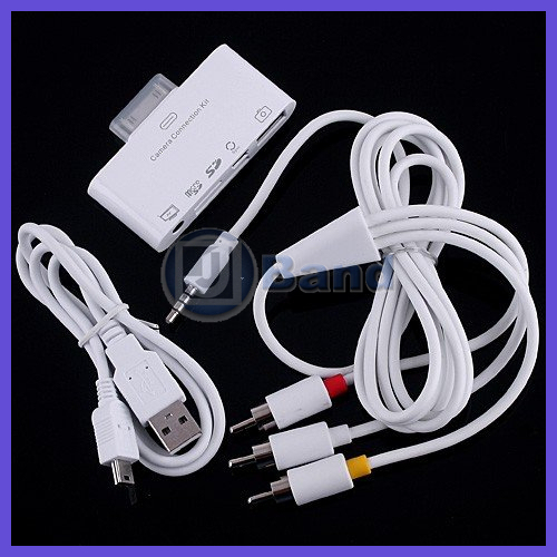 For The New iPad 3 iPad 2 Connection Kit 5 in 1 With Data Cable SD / Micro SD card reader / AV OUTPUT DHL Free(China (Mainland))