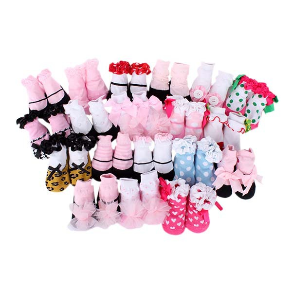 0-1Y New Born Baby Toddler Kids Socks Ankle Bow Socks Anti Slip Lace Floral Shoes Slipper(China (Mainland))