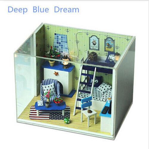 [해외]DIY 인형의 집 깊고 푸른 꿈 나무 인형 집 가구 키트 등 음..