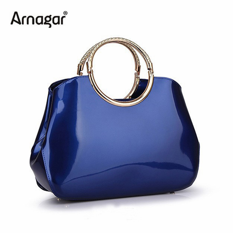 2015 new arrived genuine patent leather women shell bags candy color handbags fashion leather shoulder evening bags clutch bolsa