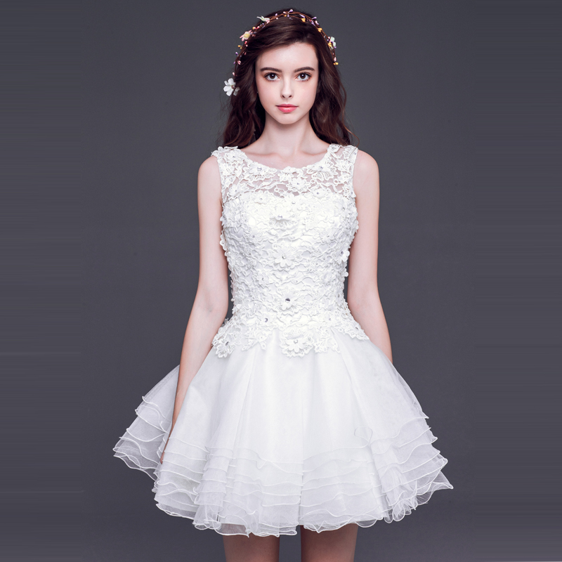 elegant cute lace applique lace up short wedding dress