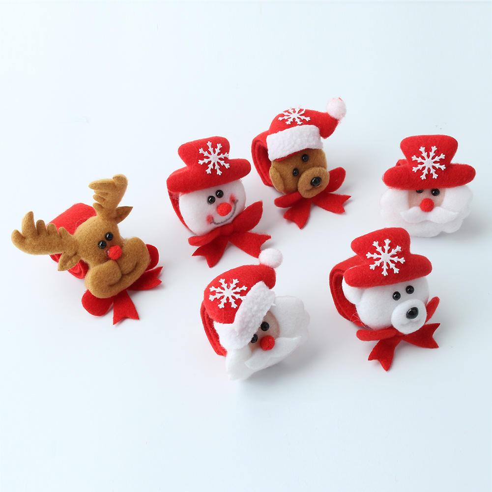 2pcs Cute Christmas Santa Claus Reindeer Bear Design Plush Slap Bracelet Wristband Hairband Kids Xmas Party Favors Toys Gift(China (Mainland))