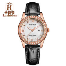 Origianl KASHIDUN Fashion Quartz Watches Women Waterproof  Leather Strap Dress Women Watch Relojes Mujer elegant Wristwatch