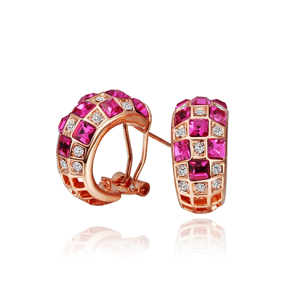 18K Rose Gold Plated Fashion Austrian Crystal Lab Diamond Jewelry Red Gemstone Hoop Earrings For Women Summer Style KE501(China (Mainland))