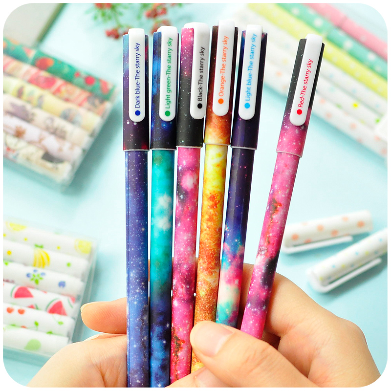 6 pcs/set Color Gel pen Starry pattern Cute kitty hero Roller ball pens Stationery Caneta escolar Office school supplies 6244(China (Mainland))