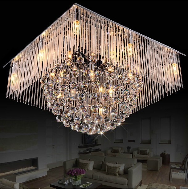 Free shipping new square crystal lamp modern chandelier crystal lighting living room lights l800 - Living room chandeliers ...