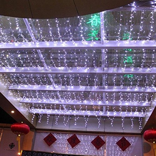 Curtain Icicle Lights String Fairy Light : 3Mx3M 308LED Outdoor Christmas Festival Curtain String Fairy Wedding Party LED Icicle Curtain ...