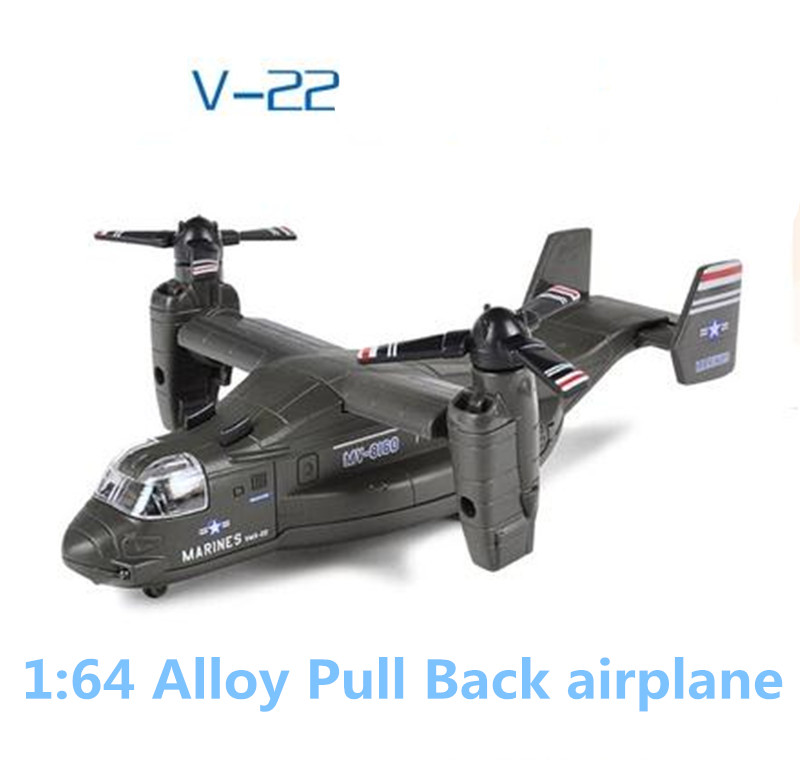 Free shipping,1:64alloy plane models,metal diecasts,high simulation toy V22 Osprey transport aircraft,pull back&flashing&musical(China (Mainland))