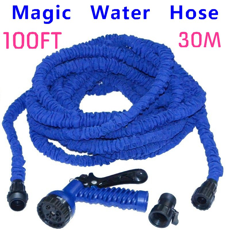 Retail Latex 100FT Expanding Pipe Garden Water Hose with Nozzle Spary Gun For Watering Flowers Vehicle Cleaning Free Shipping(China (Mainland))