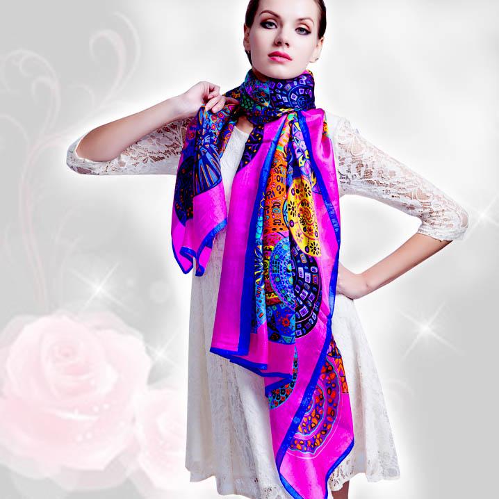 2016 winter 100% real silk Scarf wrap hijab for women female fashion foulard femme long style Scarves Summer Beach shawl(China (Mainland))