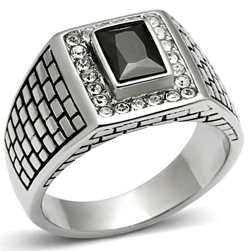 Men stainless steel ring black cz stone Europe and United states style vintage jewelry Free shipping full size 8,9,10,11,12,13(China (Mainland))