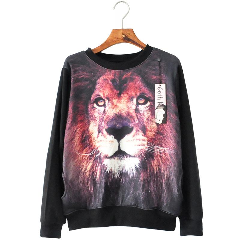 hot-selling Women Hoodies 2015 new arrival Spring Fashion O-neck full sleeve print 3d lion loose personality sweatshirt 4115Одежда и ак�е��уары<br><br><br>Aliexpress