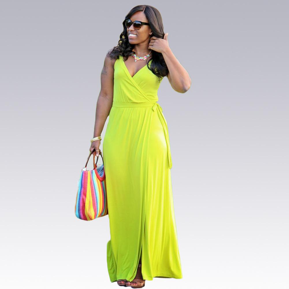 Girl v neck casual bodycon dress Women side split high waist maxi dress Summer 2016 long sexy dresses