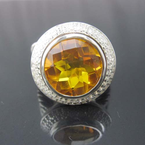 sterling silver ring with round cut created citrine and clear cubic zircon(China (Mainland))