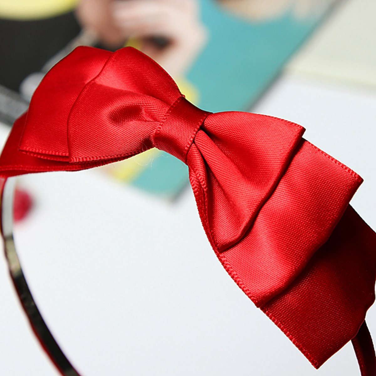 Bow Hairband Soft Elastic Bowknot Headband Hair Accessories For Children Adults Red
