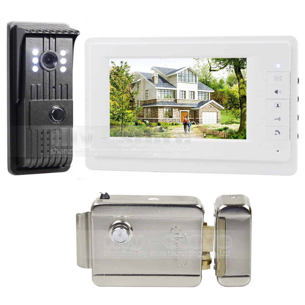 Electric Lock Aluminum Alloy CCD Camera 7 inch TFT Color LCD Display Video Door Phone Intercom Doorbell V70T-F(China (Mainland))