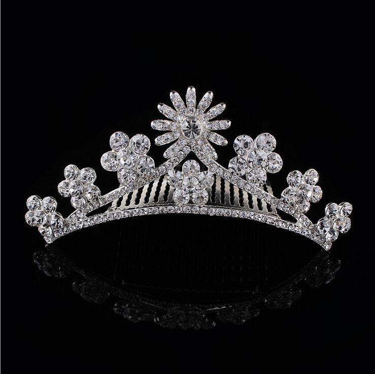 2015 New Design clear rhinestone princess tiaras kids diadem birthday crown hair jewelry wholesale(China (Mainland))