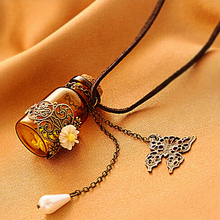 Fashion Retro Baroque Love Letter Wish Bottle Pendant Necklaces, Lovely Bottle Pendants Necklace Jewelry for Ladies Party Gift(China (Mainland))