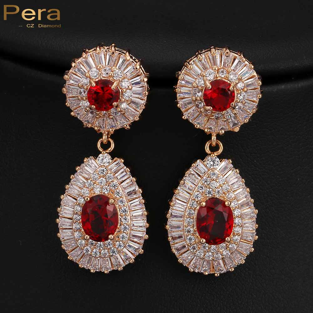 Luxury 18K Real Gold Filled Big Round Ruby Red CZ Diamond Dubai Bridal Wedding Drop Earrings Jewelry Accessories For Brides E131(China (Mainland))
