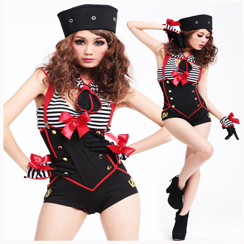 Best offer for One piece sailor suit navy suit halloween clothes costume female police uniform stewardess clothing(China (Mainland))