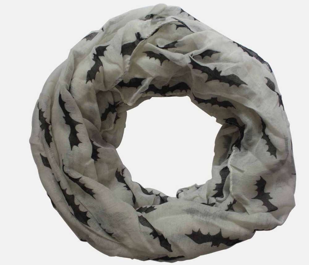 Free Shipping 2016 New Fashionable Women Winter Grey Beige Orange Bat Print Infinity Scarf Snood For Halloween Party Gifts(China (Mainland))