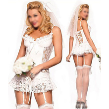 FAAJ White bridal Sexy lingerie Lingerie + garter + T pants + Hair accessories cosplay erotic lingerie sexy costumes for women