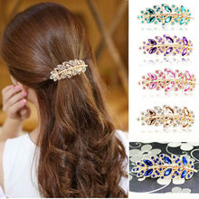 1 Piece New Luxury Crystal Hair Accessories Charms Leaf Hair Clip Twinkling Spring Wedding Bridal Hairpins A4R9C(China (Mainland))