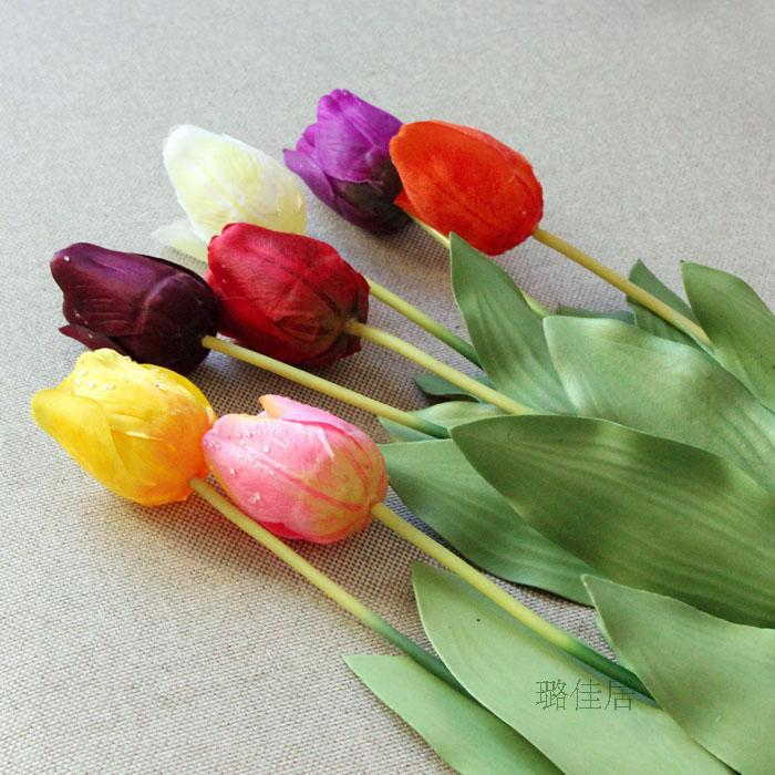 Artificial tulips Spring artificial flowers home decoration plastic and silk garden flowers mix color 10pcs/lot