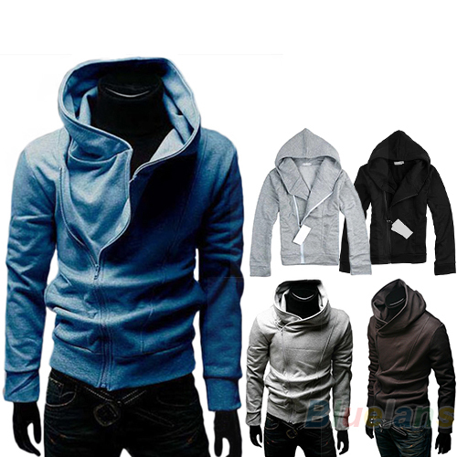 British Style Mens Casual High Collar Fashion Personality Stayed Hooded Jacket Coat  Hoodies 2013 New Fashion Hot Autumn HoodОдежда и ак�е��уары<br><br><br>Aliexpress